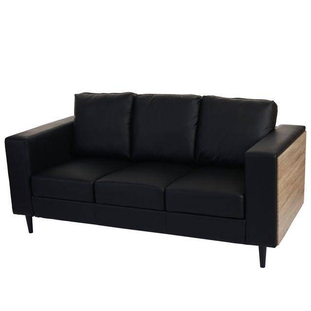 Mendler Canapés à 3 places Nancy, canapé lounge, bois, aspect chêne ~ similicuir, noir