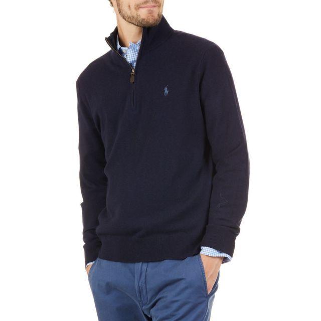 Polo Ralph Lauren - Pull camioneur Bleu Marine - pas cher Achat   Vente Pull  homme - RueDuCommerce 6aa5c8a9b71