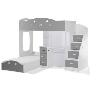 declikdeco lit combin 2 couchages bureau blanc gris raphael pas cher achat vente lit. Black Bedroom Furniture Sets. Home Design Ideas