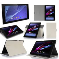 Xeptio - Sony Xperia Z2 Tablet - Housse protection Ultra Slim Cuir Style blanche - Etui coque