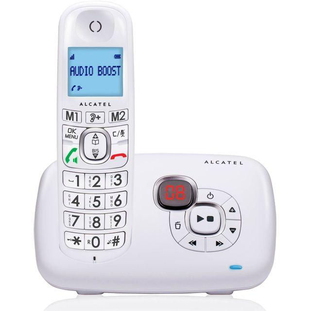 ALCATEL Téléphone Fixe Sans fil avec répondeur - XL 385 Voice - Solo Blanc ¦ La fonction répondeur du XL385 Voice simple à utiliser: ¦ Des touches d'accès sur la base ¦ Un compteur pour être informé de l'arriv