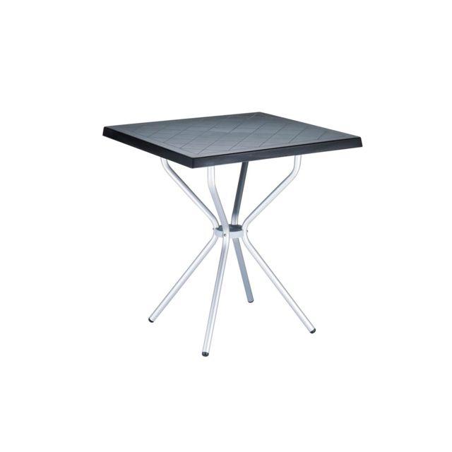 Pegane - Table de jardin en Plastique noir - 70 x 70 x 72 cm - pas ...