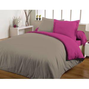le linge de jules maxi housse de couette bicolore 240x260 100 coton 57 fils fuchsia taupe. Black Bedroom Furniture Sets. Home Design Ideas