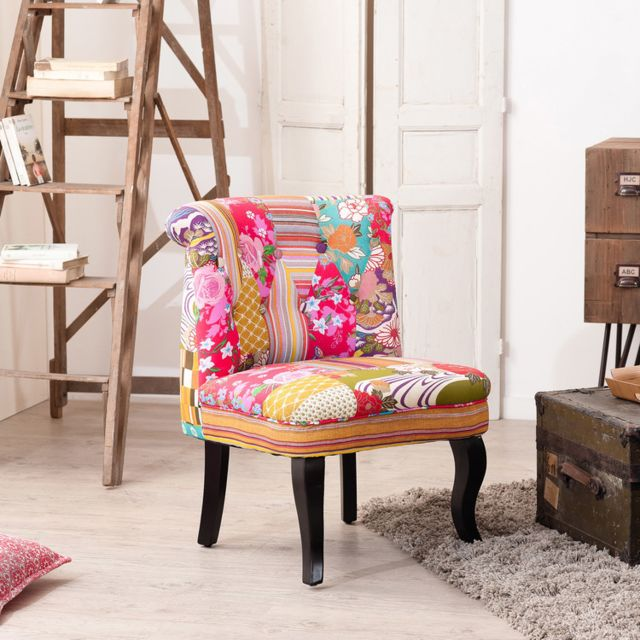 MACABANE Fauteuil crapaud en tissu et pieds en bois CLOVER - Patchwork multicolore