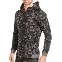 BLZ Jeans - Sweat homme zippé à capuche gris camouflage
