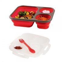 Kitchen Artist - Lunch Box bento 3 compartiments rétractables + couvercle - silicone - rouge