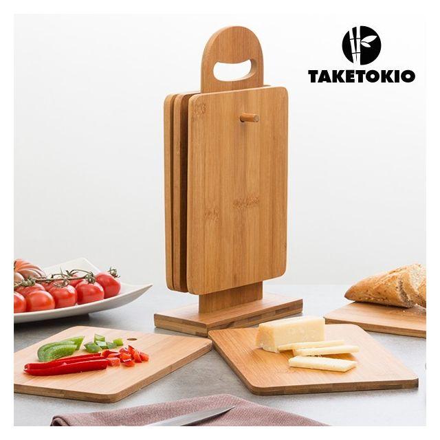 Taketokio Set de Planches de Cuisine en Bambou avec Support 7 pièces
