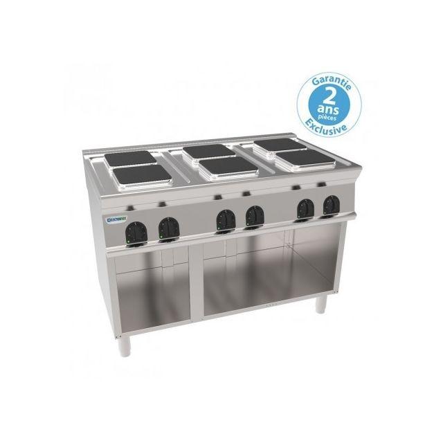 Materiel Chr Pro Plaque de cuisson électrique sur placard ouvert - 6 plaques carrées 15,6 kW - gamme 700 - Tecnoinox - 700
