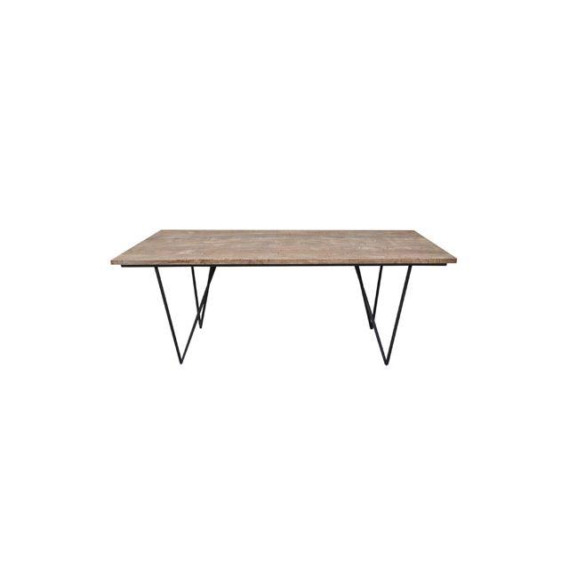 Table rectangulaire bois naturel pieds fer 200x90x75cm