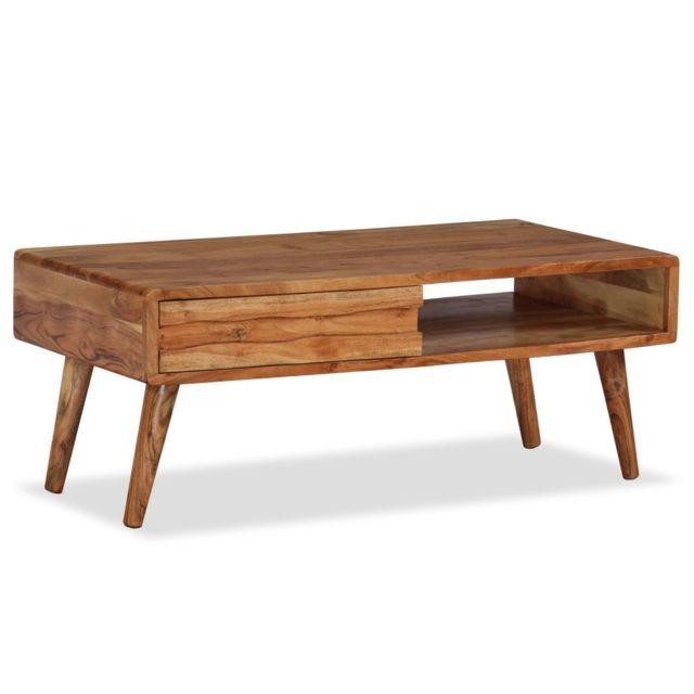 Vidaxl Bois Massif Table Basse avec Tiroir Sculpté Table de Salon Décor Maison