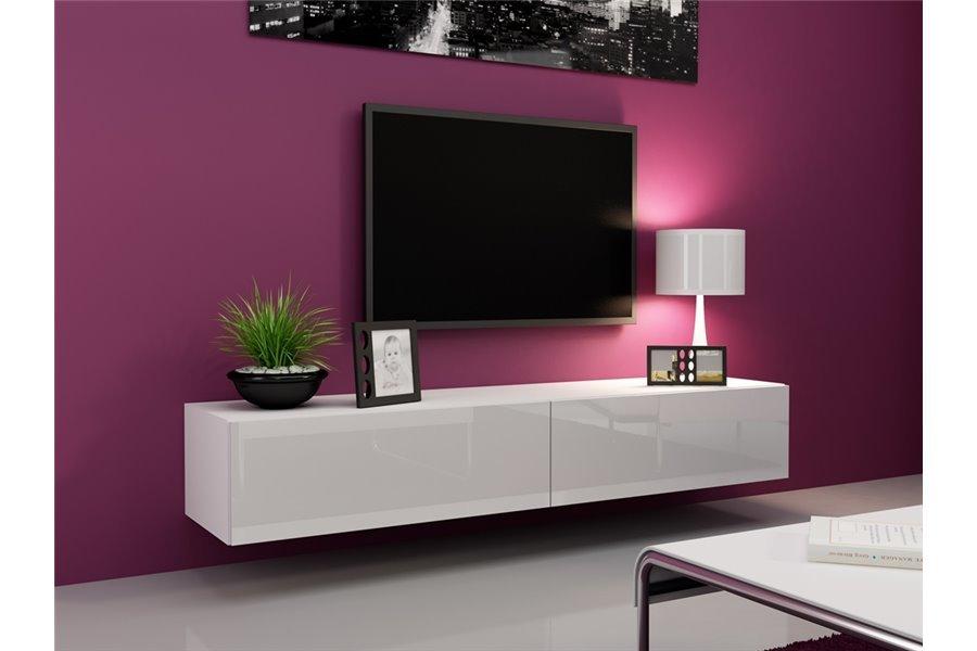 Meuble tv design suspendu Vito 180cm - blanc