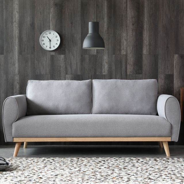 Concept Usine Joplin gris clair : Canapé scandinave 3 places avec pieds bois