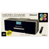 Bigben - Micro chaine noire et grise +2 hauts parleurs radio Cd Mp3 Usb Sd