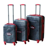 LEE COOPER - Set de 3 valises rigides DENIM - ABS et polycarbonate - Noir