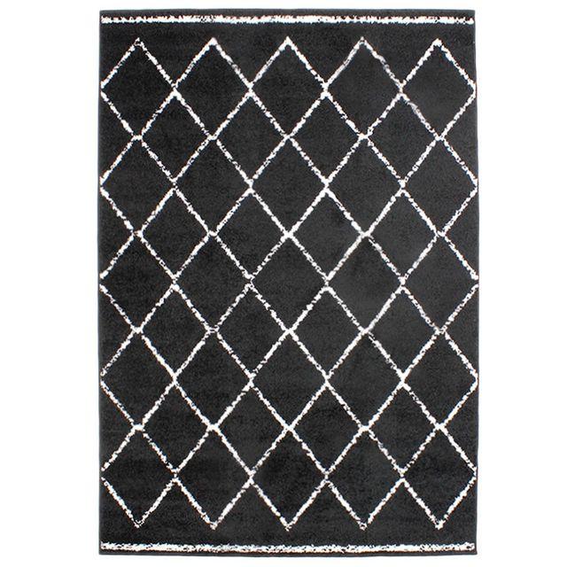 Best mon beau tapis tapis ethnique motifs berbres noir xcm - Tapis noir et blanc graphique ...