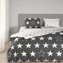 Good Morning - Parure de couette Stars - 1 housse de couette 200x200 cm + 2 taies 60x70 cm anthracite et blanc