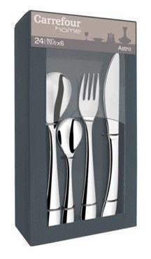 CARREFOUR HOME Ménagère 24 pièces - SIMPLE Composition : 6 fourchettes, 6 couteaux, 6 cuillères, 6 café• Acier inoxydable 18/0• Epaisseur : cuillère et fourchette 2,5 mm – café 2 mm• Finition : brillant