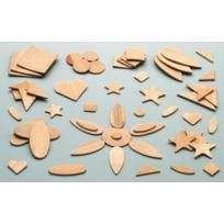Bouhon - forme fantaisie et geometrique en bois assortie - sachet de 100