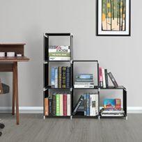 Etagere Escalier De 6 Cases Bibliotheque Meuble De Rangement En Tissu Non Tisse 105 X 29 X 105 Cm Noir Lsn63h