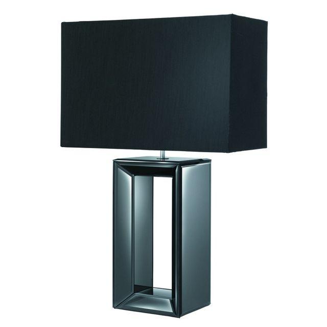 Searchlight Lampe De Table Pied Miroir Noir Et Abat Jour Noir