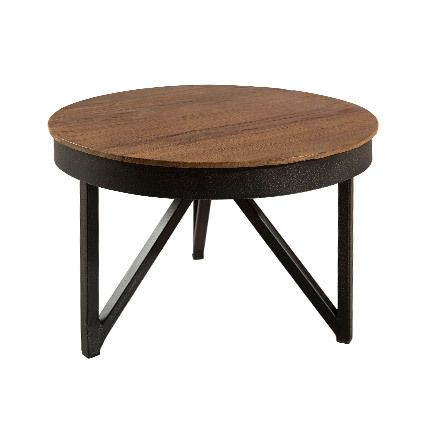 table basse ronde d 39 appoint 50x50 cm bois et m tal. Black Bedroom Furniture Sets. Home Design Ideas