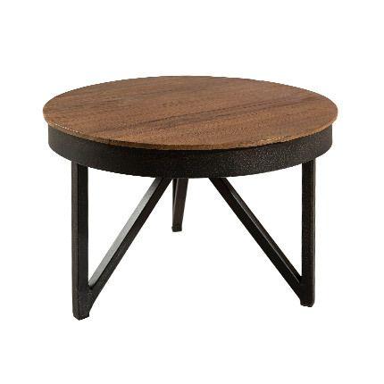 Table basse ronde d'appoint 50x50 cm bois et métal Appoline - teck foncé