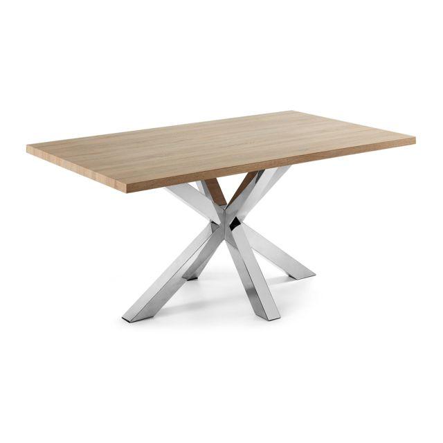 Kavehome Table New Argo 160x90, Inox Mdf Sonoma naturel
