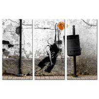Declina - Tableau triptyque basketteur sur toile imprim?e - D?co street art