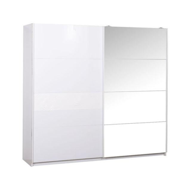 Tousmesmeubles Armoire 2 portes coulissantes Laqué Blanc - Senya - L 240 x l 65 x H 223