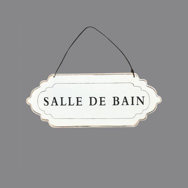 Plaque De Porte Salle De Bain Murale Blanc Creme 12cm