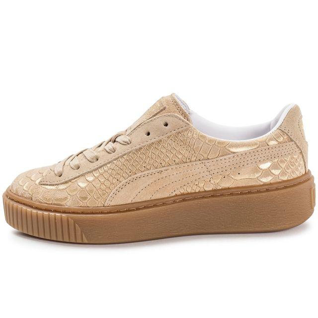 Puma Basket Platform Exotic Skin Vachetta Tan pas cher