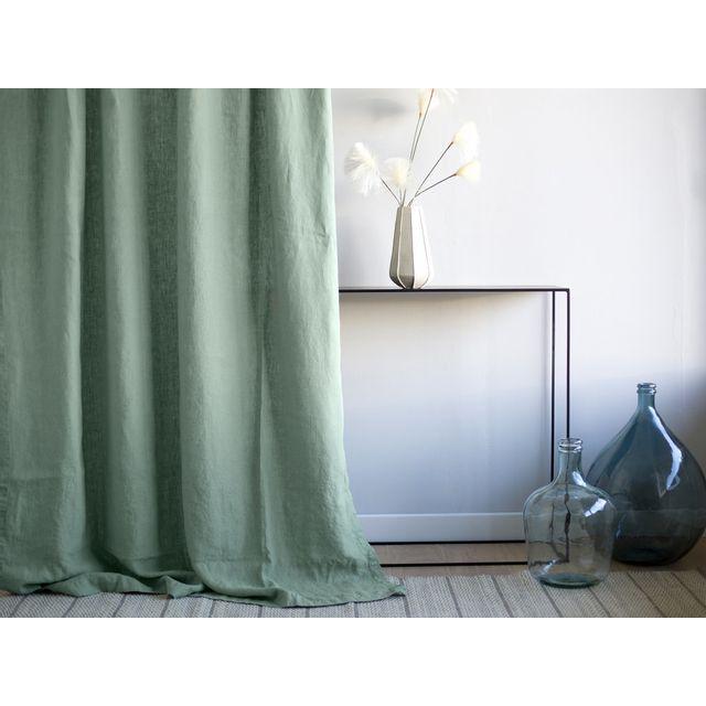 Akhal - Rideau tamisant à pattes cachées uni 100% lin lavé 185gr/m2 140x250cm James - Vert amandeNC