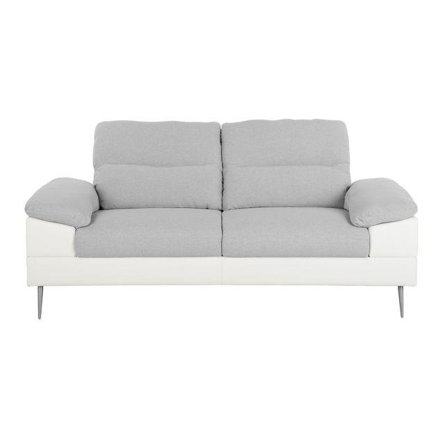 BELIANI Canapé 3 places en tissu gris TJOME