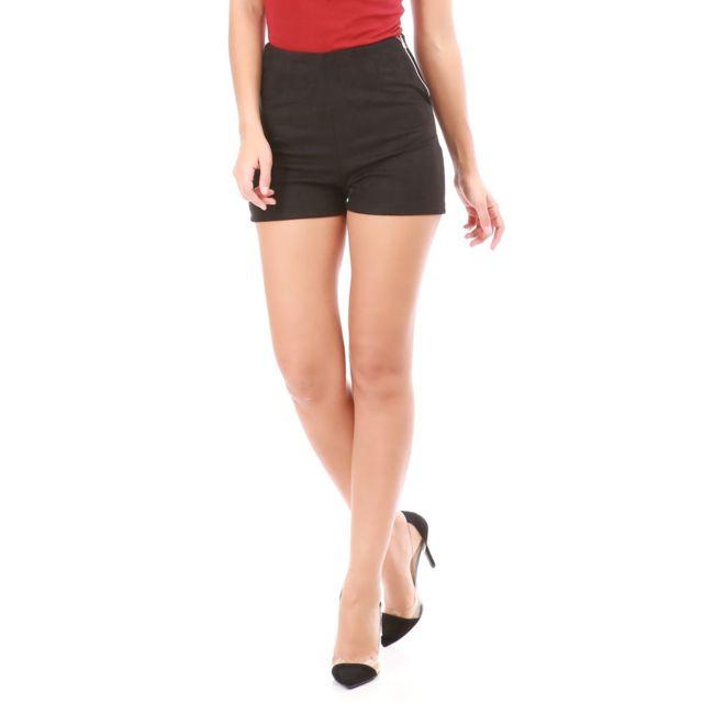 3140ee8ff Lamodeuse - Short noir taille haute en suédine - pas cher Achat ...