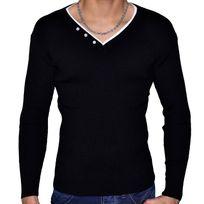 Stef Wear - Pull Col V Double - Homme - Stef 701 - Noir Blanc