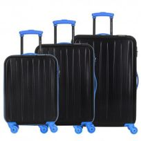 David Jones - Lot de 3 valises bagage rigide - 4 Roues - bleu