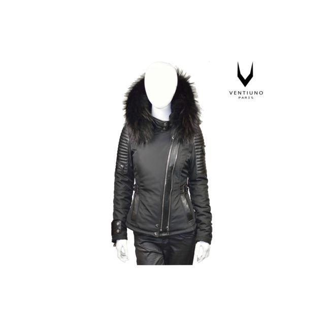 bf111e8070f ... Ventiuno - Ventiuno Belucci - Bellucci Veste doudoune perfecto fourrure  véritable taille Max Noir - cuir ...