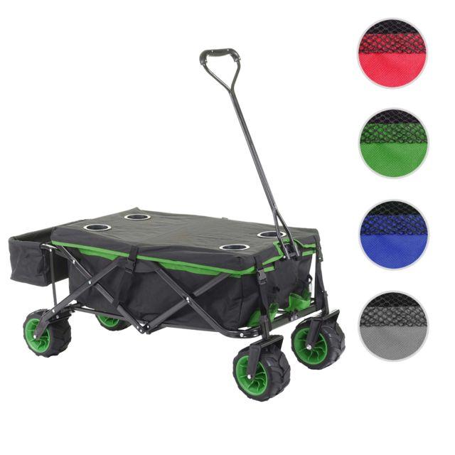 Mendler Chariot pliable Hwc-e62, charette à bras, pneus tout terrain ~ avec recouvrement noir/vert