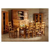 HELLIN - Ensemble table de ferme + 6 chaises + bahut 3 portes LA BRESSE - bois chêne massif