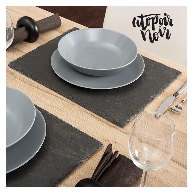 Totalcadeau Sous-plat en ardoise Noir 40 x 30 x 0,5 cm - Set de table