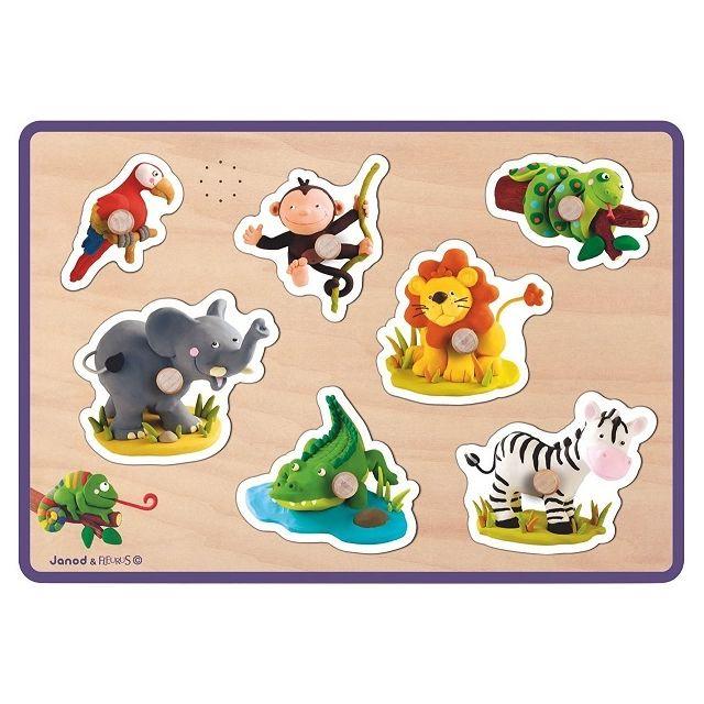 JANOD J07048 - Puzzle musical Bois Animaux De La Savane 7 pieces