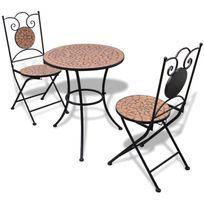 Casasmart - Table d'extérieur avec 2 chaises en terre cuite