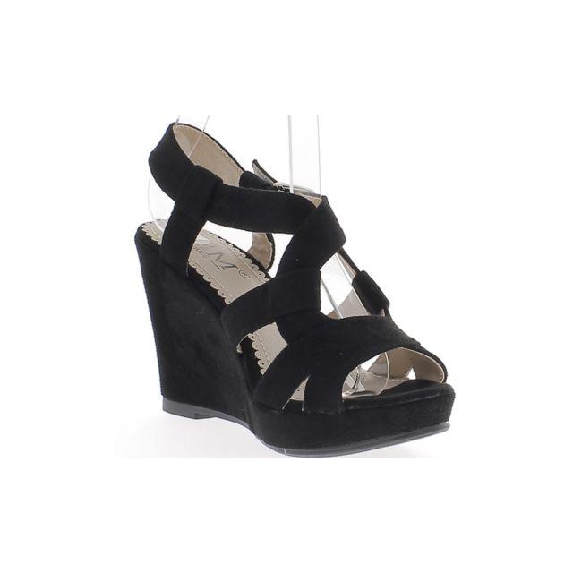 Chaussmoi - Sandales compensées noires à talons épais de 10cm avec  plateforme aspect daim 2e3fc0e238ec