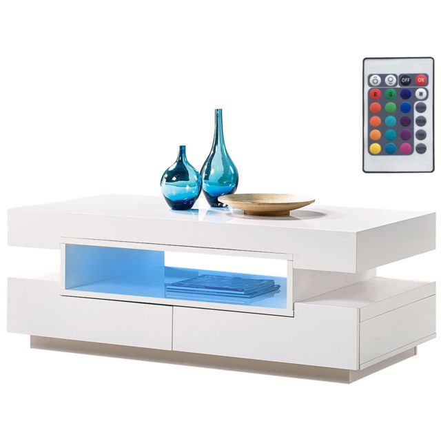 HABITAT ET JARDIN - Table basse Mia - 120 x 60 x 44 cm - Blanc laqué ...