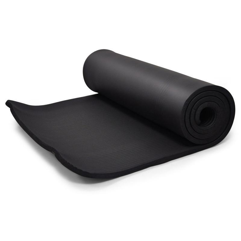 Tapis de Yoga190x60cm 15mm Sol Gymnastique Noir