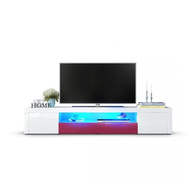 Mpc Meuble tv moderne laqué blanc et fuchsia 200 cm avec led