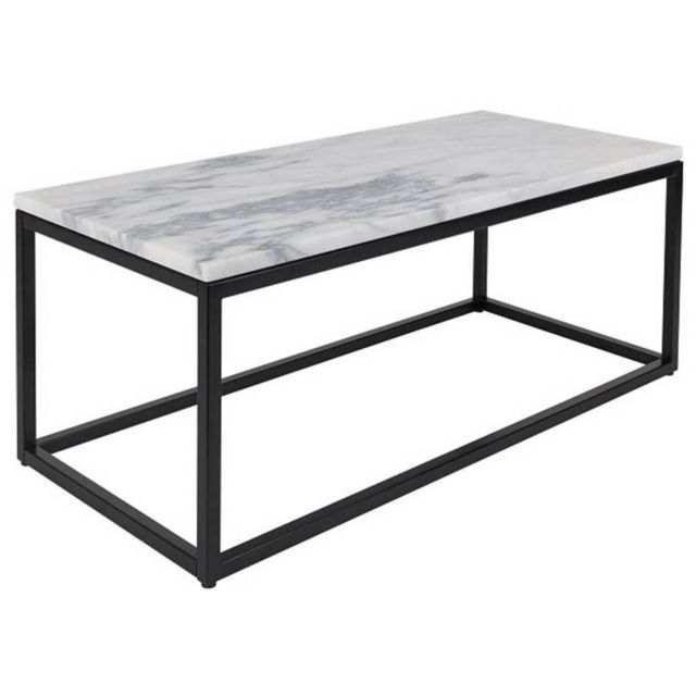 Inside 75 Table basse rectangulaire Marble Power plateau en marbre blanc structure en acier noir mat