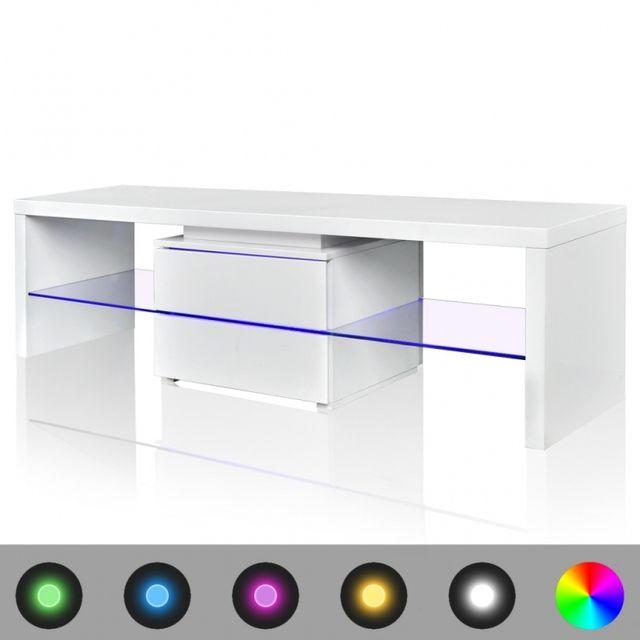 Casasmart Meuble Tv rectangulaire blanc sur pieds avec luminaires 150 cm