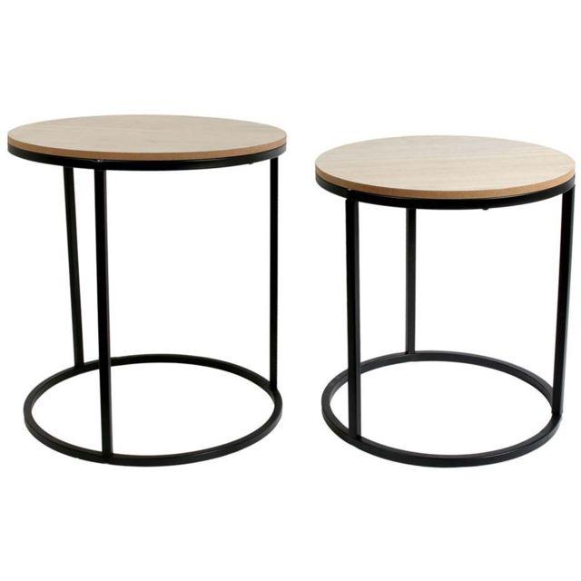 THE HOME DECO FACTORY Tables assorties rondes bois et métal design Lot de 2