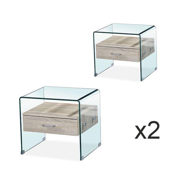 Meubler Design Lot de deux Table de chevet en verre Elsa